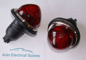 CLASSIC-CAR-rear-brake-stop-amp-tail-lamp-light-RED-GLASS-x-2-1-PAIR