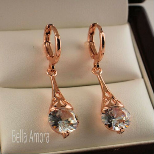 18K 18ct Rose Gold Plated Dangle Drop Earrings with SWA Crystals New UK