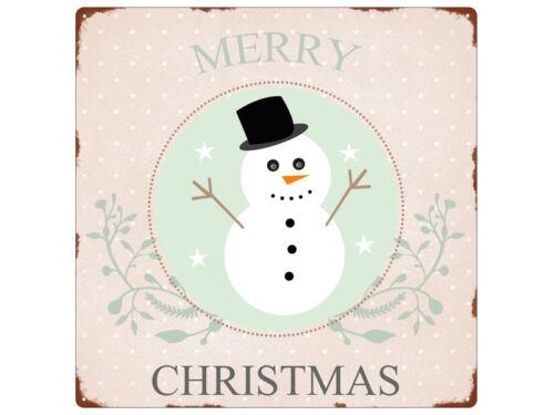 20x20cm plaque métallique virent Merry Christmas Bonhomme de neige Noël Hiver