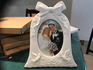 White Matte Porcelain Wedding Bell Shaped Wedding 5x7 Photo Frame Russ 15953 Ebay