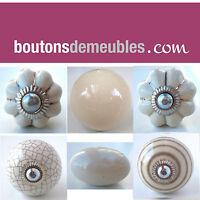 Bouton De Tiroir Porte Placard Meuble Céramique Porcelaine Crème/ Cream Knobs