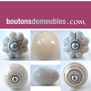 bouton de tiroir porte placard meuble c ramique porcelaine cr me cream knobs ebay. Black Bedroom Furniture Sets. Home Design Ideas
