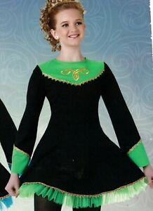 Celtic-Bellsleeve-Irish-Dress-Lime-Black-Gold-Braid-Trim-Petticoat-Tiara-inclded