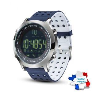 100% De Qualité Montre Connectée Bleu/blanc Smartwatch Bracelet étanche Bluetooth Android Apple