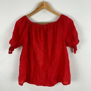 Made-In-Italy-Womens-Top-Free-Size-Red-Short-Sleeve-Boat-Neck