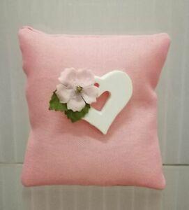 Super-Angebot-50-Stuecke-Kissen-Mandeln-Beutel-Pink-mit-Herzen-Bonboniere-0SCO