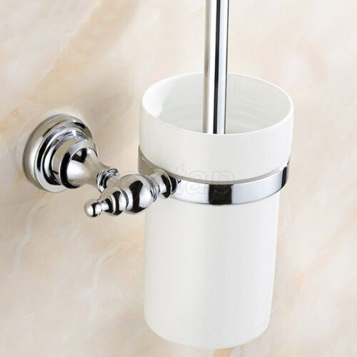 Chrome Wall Mount Toilet Brush set With Ceramic Cup Holder Bathroom Accessories
