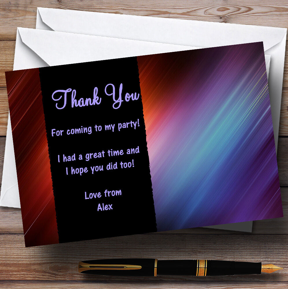 Stylish Multi Colourot Personalised Party Thank You Cards