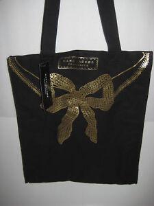 2f8857268b Marc Jacobs Fragrances Women Tote Bag Black Canvas Gold Bow Brand ...