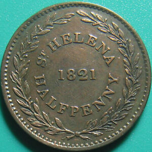 1821-SAINT-HELENA-amp-ASCENSION-1-2-PENNY-LIONS-BRITISH-EAST-INDIA-COMPANY-COPPER