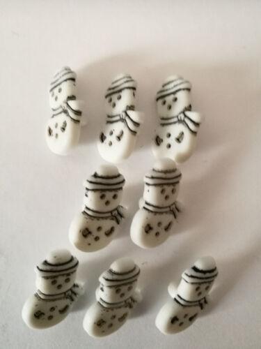 Caña en forma de muñeco de nieve Navidad Grabado Atrás botones de bebé 18 mm Navidad Novedad