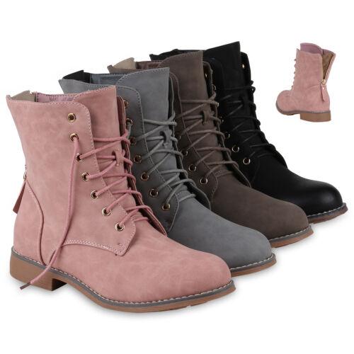 Damen Stiefeletten Schnürstiefeletten Schuhe Stiefel 818668 Mode