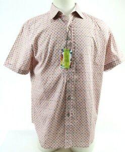 Robert-Graham-Men-039-s-NWT-178-Short-Sleeve-Shirt-Size-Large-White-Red-Blue