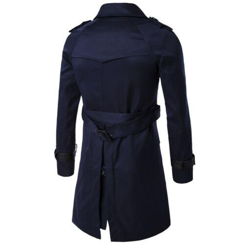 Men/'s Double Breasted Mid Long Dust Jacket Belt Lapel Overcoat Slim Fit Outwear