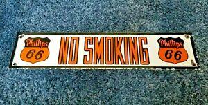 VINTAGE-PHILLIPS-GASOLINE-NO-SMOKING-PORCELAIN-MOTOR-OIL-SERVICE-STATION-SIGN