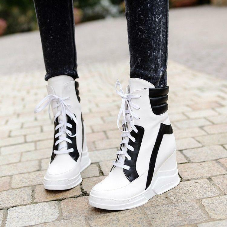 Donna Hidden wedge Heel Lace Ginnastica Up Ankle Stivali Stivali Ankle High Top   01ad14