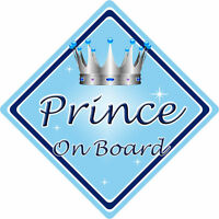 Non Personalised Child/Baby On Board Car Sign ~ Prince On Board ~ L.Blue