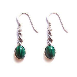 CELTIC-earrings-Green-Malachite-Sterling-silver-gothic-goth-steampunk-wedding