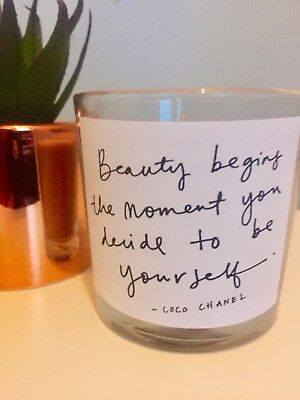 Grey Wax Vanilla Scented Candle Jar Votive Gift Home Decor Be-YOU-tiful Quote