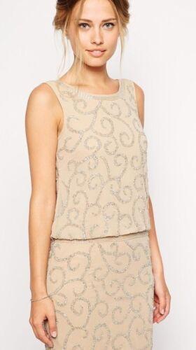 BNWT Frock /& Frill Embellished Drop Waist Scoop Low Back Dress Cream 8 10 14