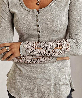 NEW Women Lace Crochet Embroidery Tops Long Sleeve Shirt Casual Blouse M-XL