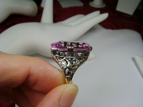 #9 Simulated 30ct Pink Gem Sterling Silver Made To Order Pink Topaz Ring