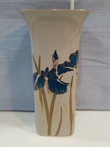 """Royal Iris Otagiri Japan Vase 8"""" Tall Blue Flowers Beige Pottery"""