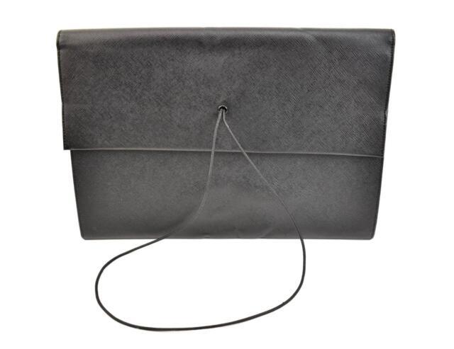 da67d1e84137 PRADA: Black, Saffiano Leather & Logo Large Portfolio/Document Holder ...