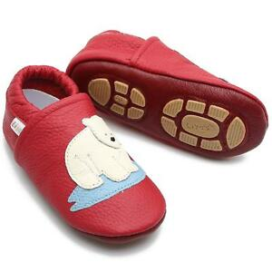Liya's Krabbelschuhe Hausschuhe Lederpuschen Turnschläppchen - #674 Eisbär in ro