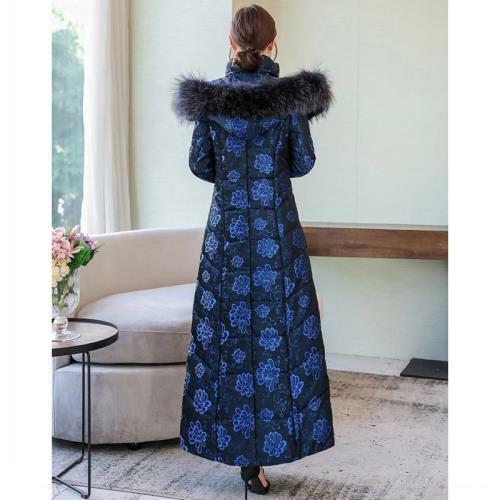 Hiver Femmes Floral à capuche Down Cotton Coat Long Slim Fit Chaud Parka Pardessus L