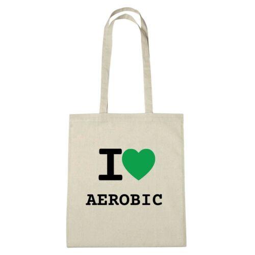 Farbe: natur Jutebeutel Ökotasche I love AEROBIC Umwelttasche