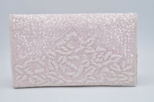 La-Regale-VINTAGE-Nordstrom-Bag-Clutch-Purse-Heavy-Beaded-Pink-Evening-Formal