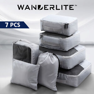 Wanderlite Luggage Organiser Suitcase Sets Packing 7PCS Travel Cubes Pouch Bag