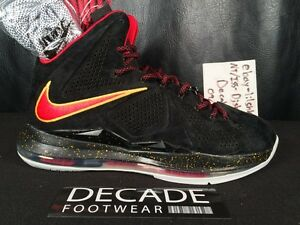 online store 51f2b 7d384 Image is loading NIKE-LEBRON-X-10-BLACK-SEUDE-RED-12-