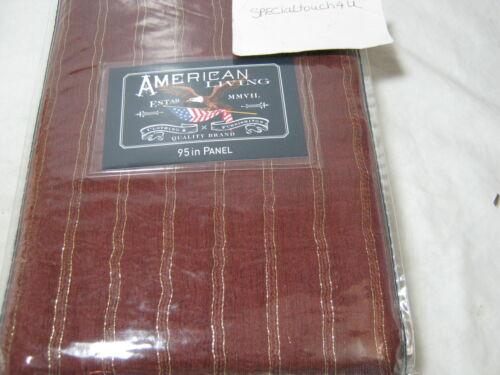 New AMERICAN LIVING Sheer Tailored  WINDOW PANEL Glitter Stripe 50x95 Burgundy