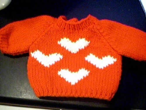 Valentine Four Hearts Sweater Handmade for 16 inch Cabbage Patch Kid Made in USA
