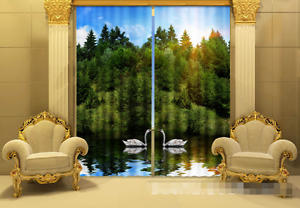 3D Árbol De Cisne 21 Cortinas de impresión de cortina de foto Blockout Tela Cortinas Ventana CA