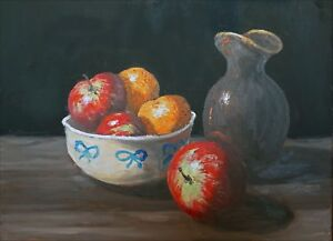 Original Oil Painting Still Life Xii Bowl Of Fruit And Napolean
