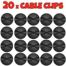 20x Black Cable Wire Cord Lead Drop Clips Usb Charger Holder Tidy Desk Organiser