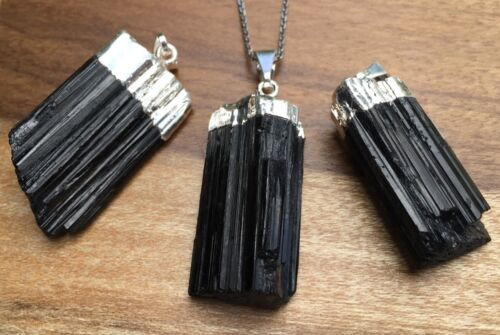 Raw Black Tourmaline Pendant With Chain Black Tourmaline Necklace Silver Plated.