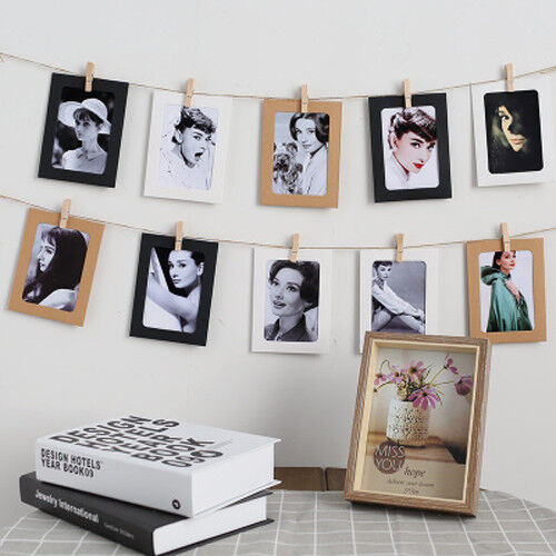 """10Pcs 6/"""" DIY Wall Picture Paper Photo Hanging Frame Album Rope Clip Decoration"""