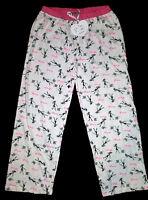 Paris Girl Dog Poodle Pink Black Women's Lounge Pajama Pj Pants Loungers M