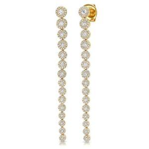 1-64-CT-14K-Yellow-Gold-Graduating-Round-Cut-Diamond-Halo-Dangle-Drop-Earrings