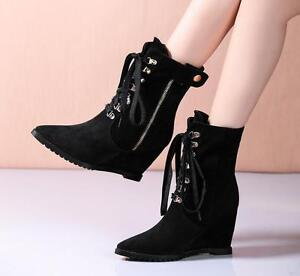 Women-039-s-Lace-Up-Wedge-Hidden-Heels-Zipper-Ankle-Boots-Platform-Pointy-Toe-Shoes