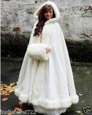 Bridal Winter Wedding Dress Hooded Cloak Cape Faux Fur Bridal Mantles Wraps