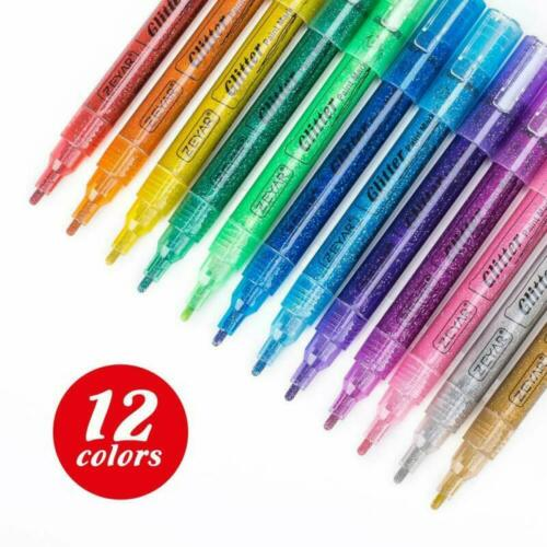 12 Hermosos Colores Surtidos, punto fino Zeyar Pintura Glitter bolígrafos a base de agua