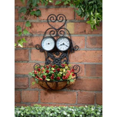H 3 in 1 Fioriera con Orologio e Termometro Decorazione del Giardino 38cm