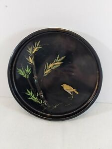 Round Lacquer Tray black bird bamboo abalone cloisonne green 10.5 x 1. Vintage