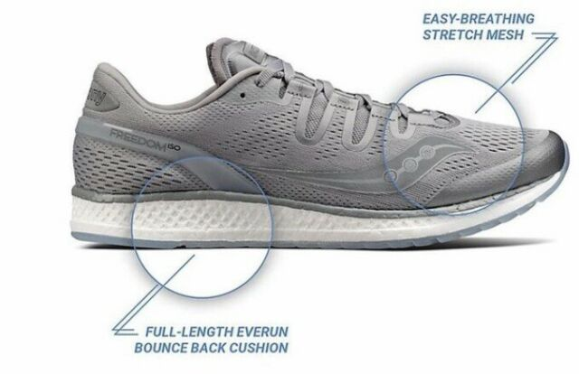 aaba981d597a4 Saucony S20355 51 Freedom ISO Grey Men's Running Shoes Size 9.5 US