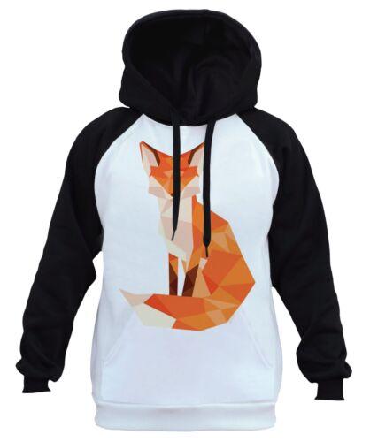 Men/'s Geometric Fox White Raglan Hoodie Forest Wildlife Animal Beast Exotic B177